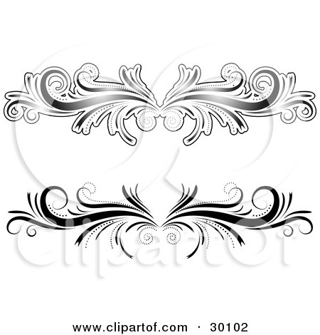 Clipart Illustration of Two Black And White Flourish Designs Or Lower Back