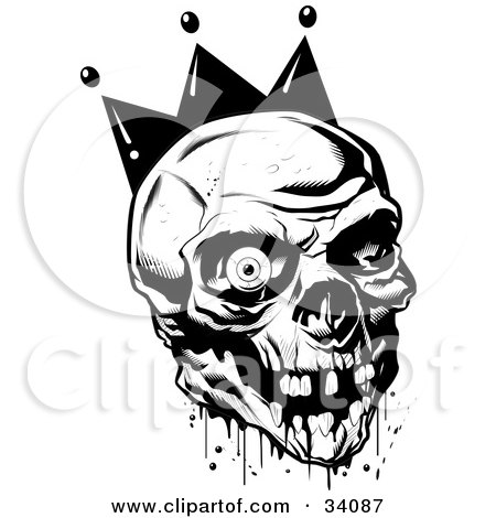 Royalty-free fantasy clipart picture of a bloody joker skull with