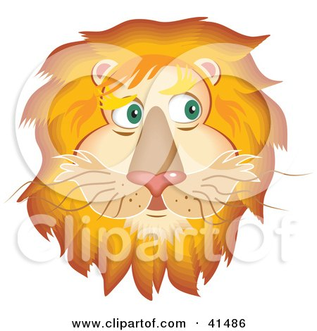 41486-Clipart-Illustration-Of-A-Handsome-Lion-Face-With-A-Golden-Mane.jpg (450×432)