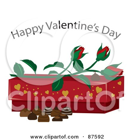 Royalty-Free (RF) Clipart Illustration of a Happy Valentine's Day Greeting Over Roses, A Box And Chocolates by Rogue Design and Image