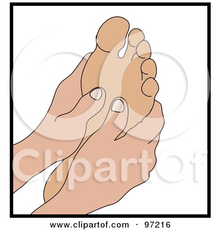 Royalty-Free (RF) Clipart Illustration of a Pair Of Hands Massaging A Foot by Rogue Design and Image