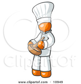 Orange Baker Chef Cook in Uniform and Chef's Hat, Stirring Ingredients in a Bowl Clipart Illustration