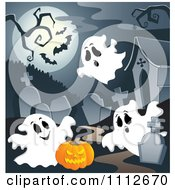 Clipart Cemetery With A Jackolantern Tombstones And Ghosts Under A Full Moon With Bats Royalty Free Vector Illustration by visekart