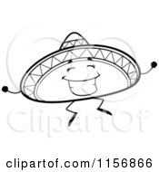 white happy dancing character black and white hat