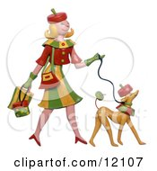 Clay Sculpture Of Woman And Dog Dressed Alike Walking Clipart Picture by Amy Vangsgard