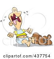 Royalty Free RF Clip Art Illustration Of A Teething Baby Throwing A Tantrum by Ron Leishman