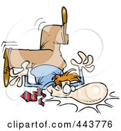 Royalty Free RF Clip Art Illustration Of A Cartoon Clumsy Businessman Falling On His Face