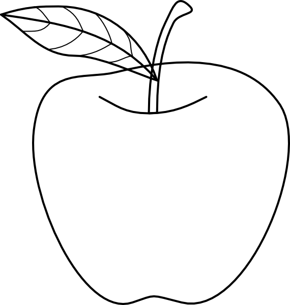 1 Apple Clipart Black And White
