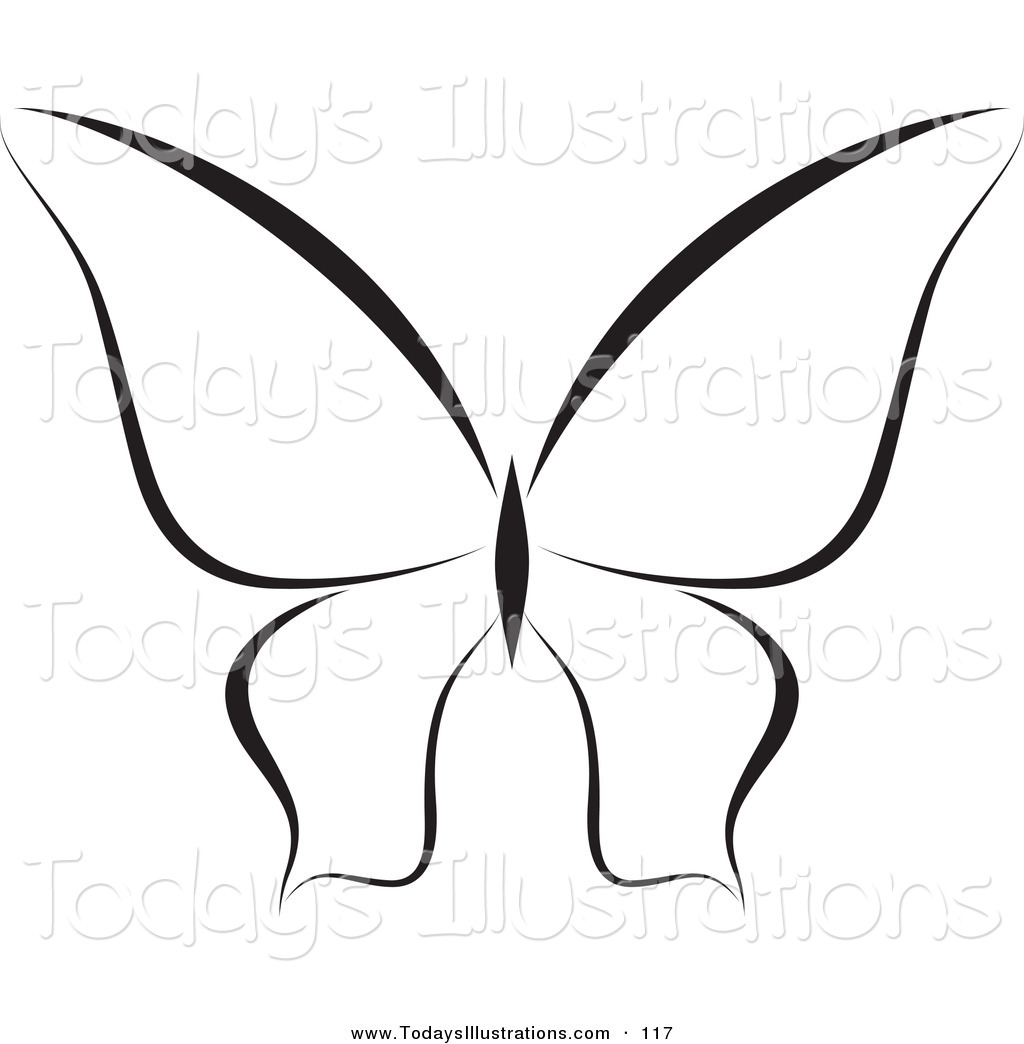 Flying Butterfly Outline