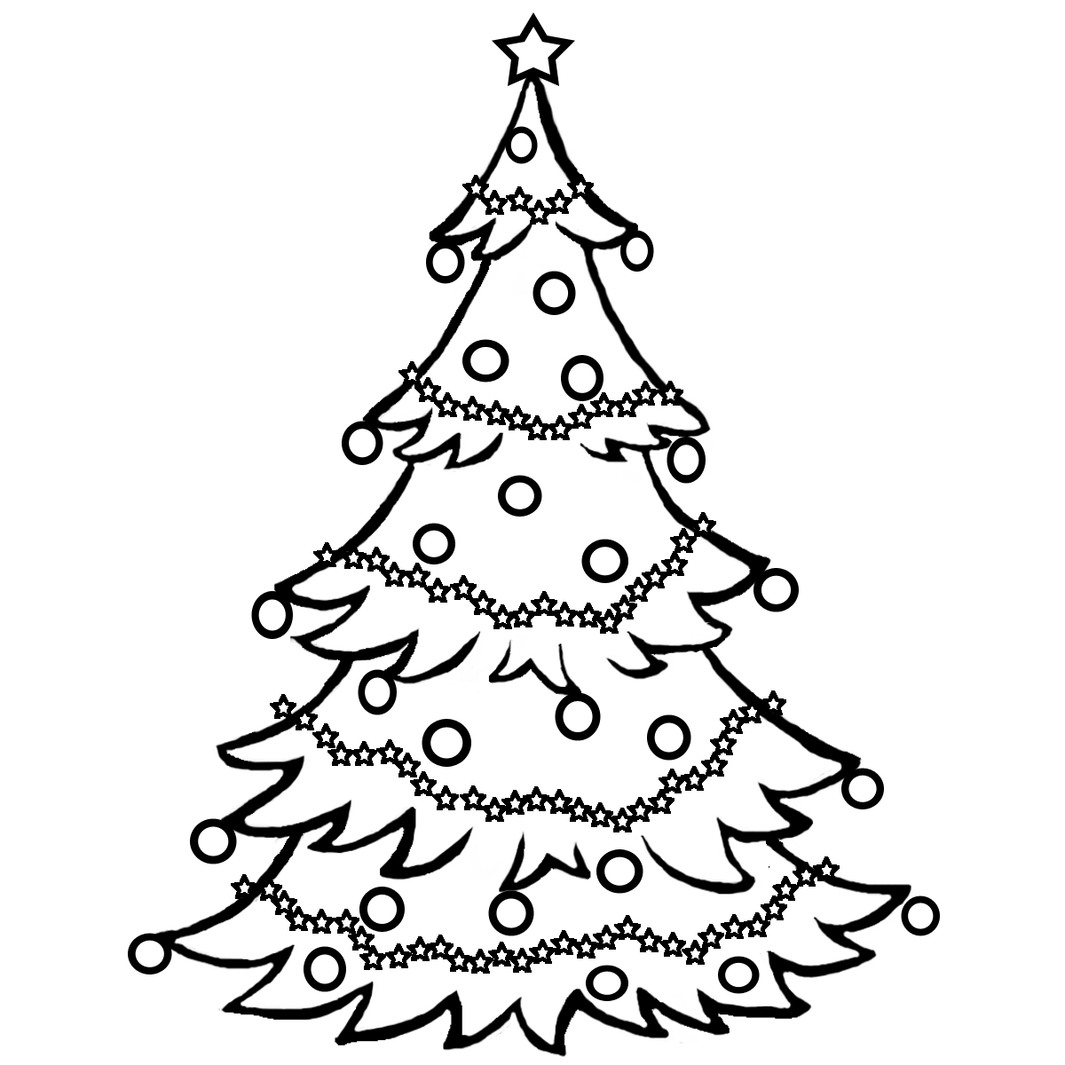 Christmas Tree Ornaments Clipart Black And White