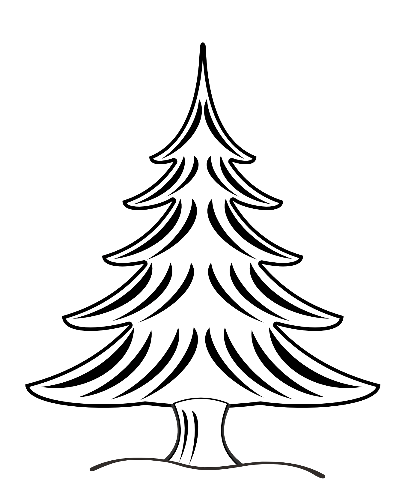 Clip Art Christmas Tree Black And White