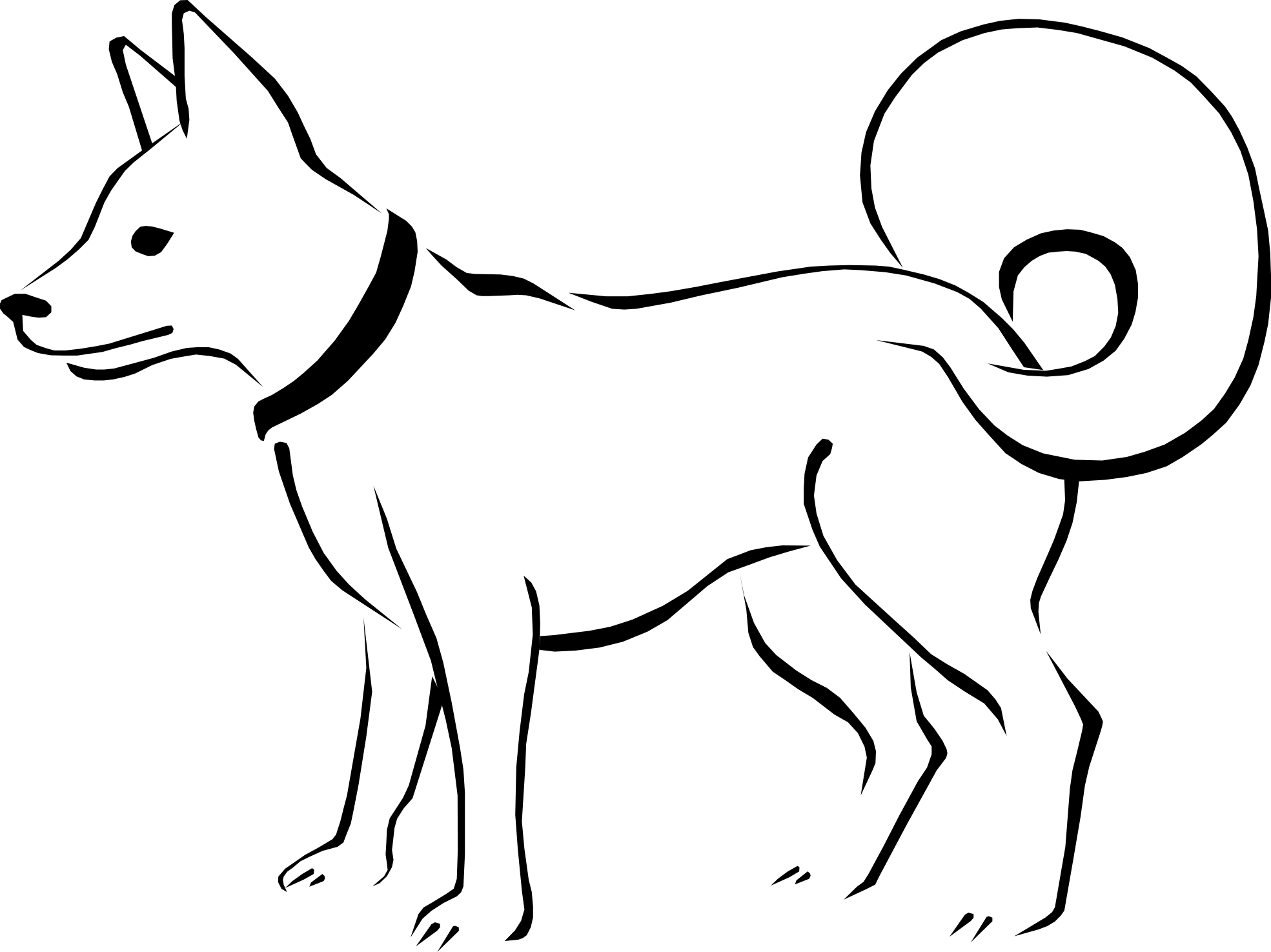 Eskimo Dog Black White Clipart Panda