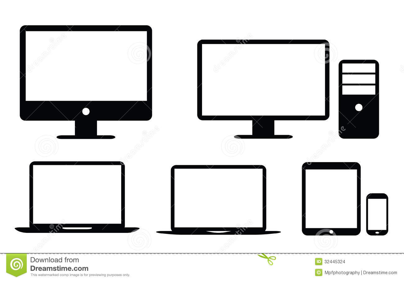 Desktop Computer Icon Black And White