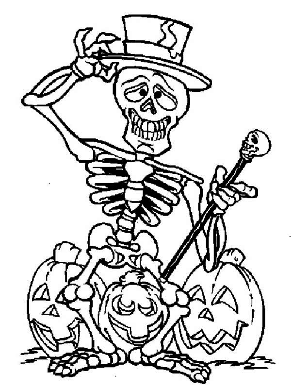 skeleton coloring page skeleton and three halloween pumpkin coloring
