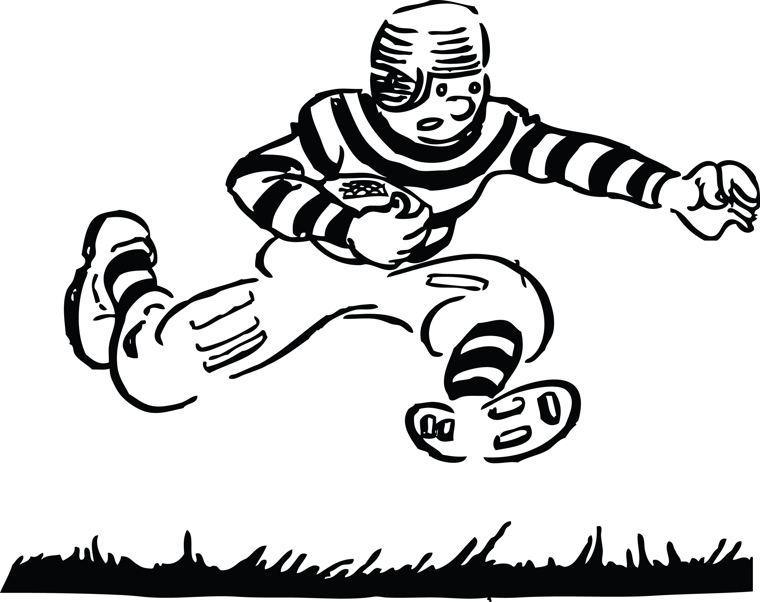 Football Clip Art Black And White Outline