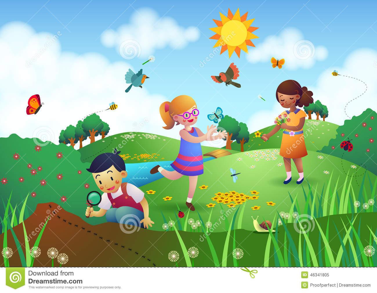 Clipart Garden With Children