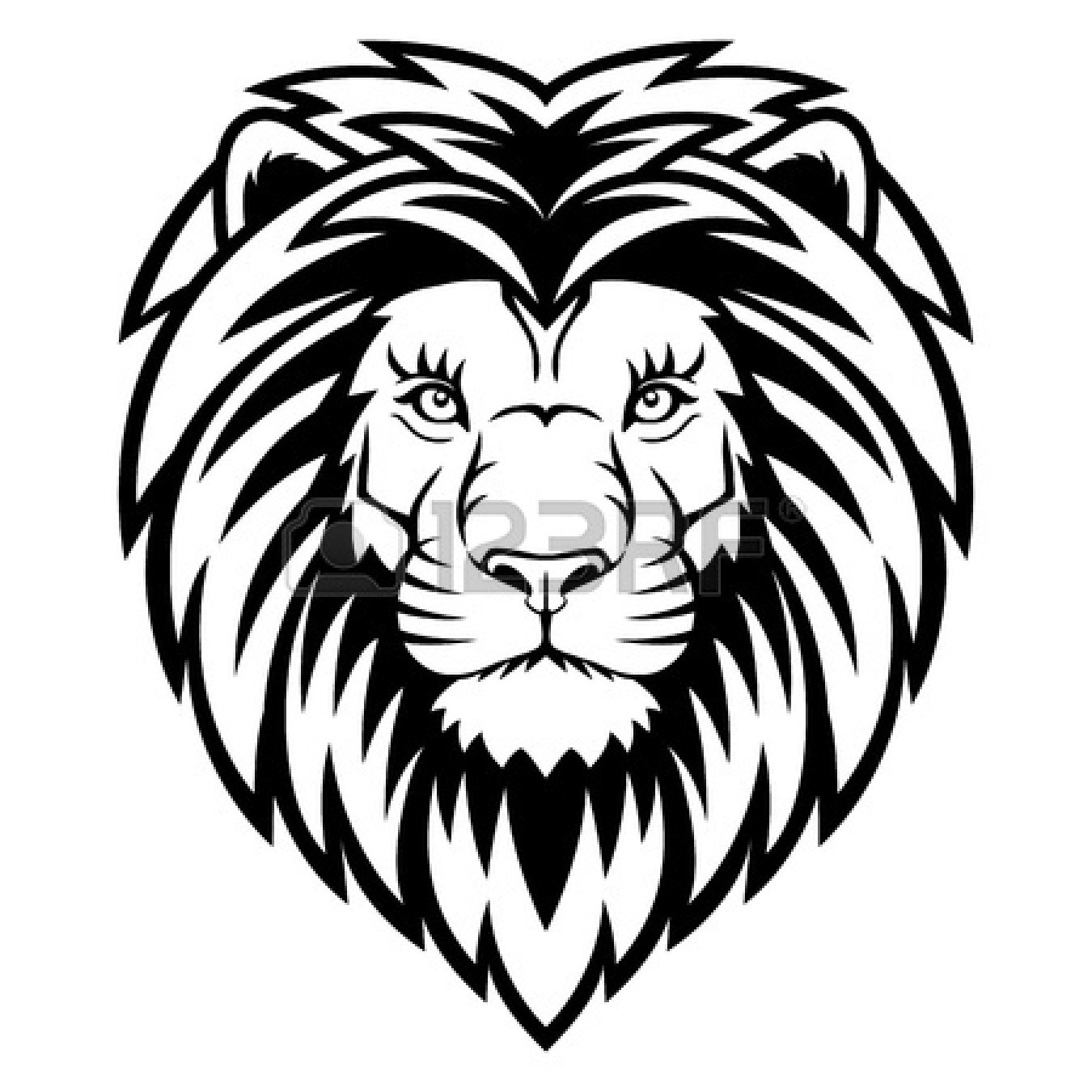 Lion Head Clipart Black And White Clipart Panda