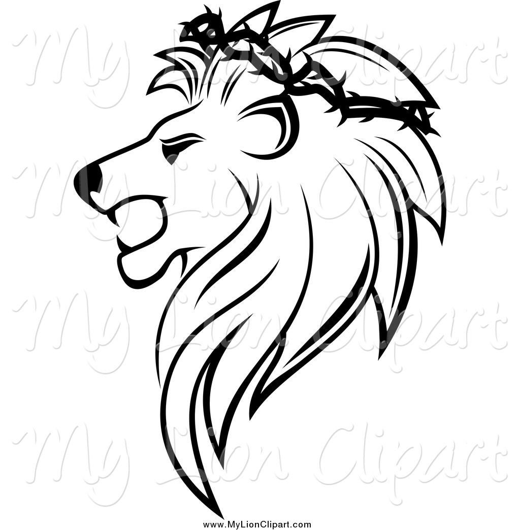 Lion Head Clipart Black And White Clipart Panda