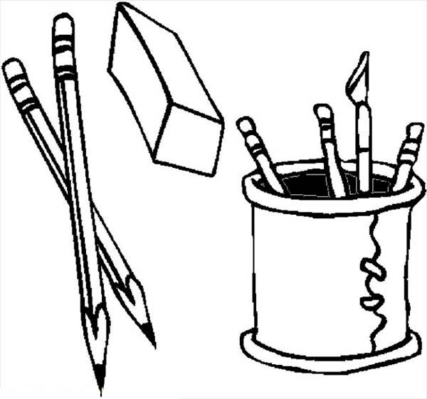 pencil coloring page a pair of pencil and its cup holder coloring page