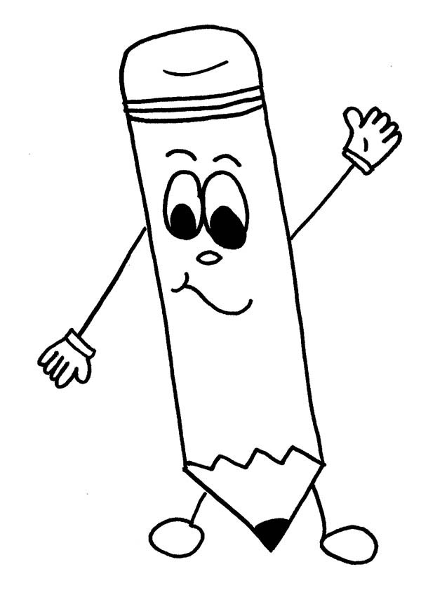 coloring page mr pencil is welcoming you for school time coloring page