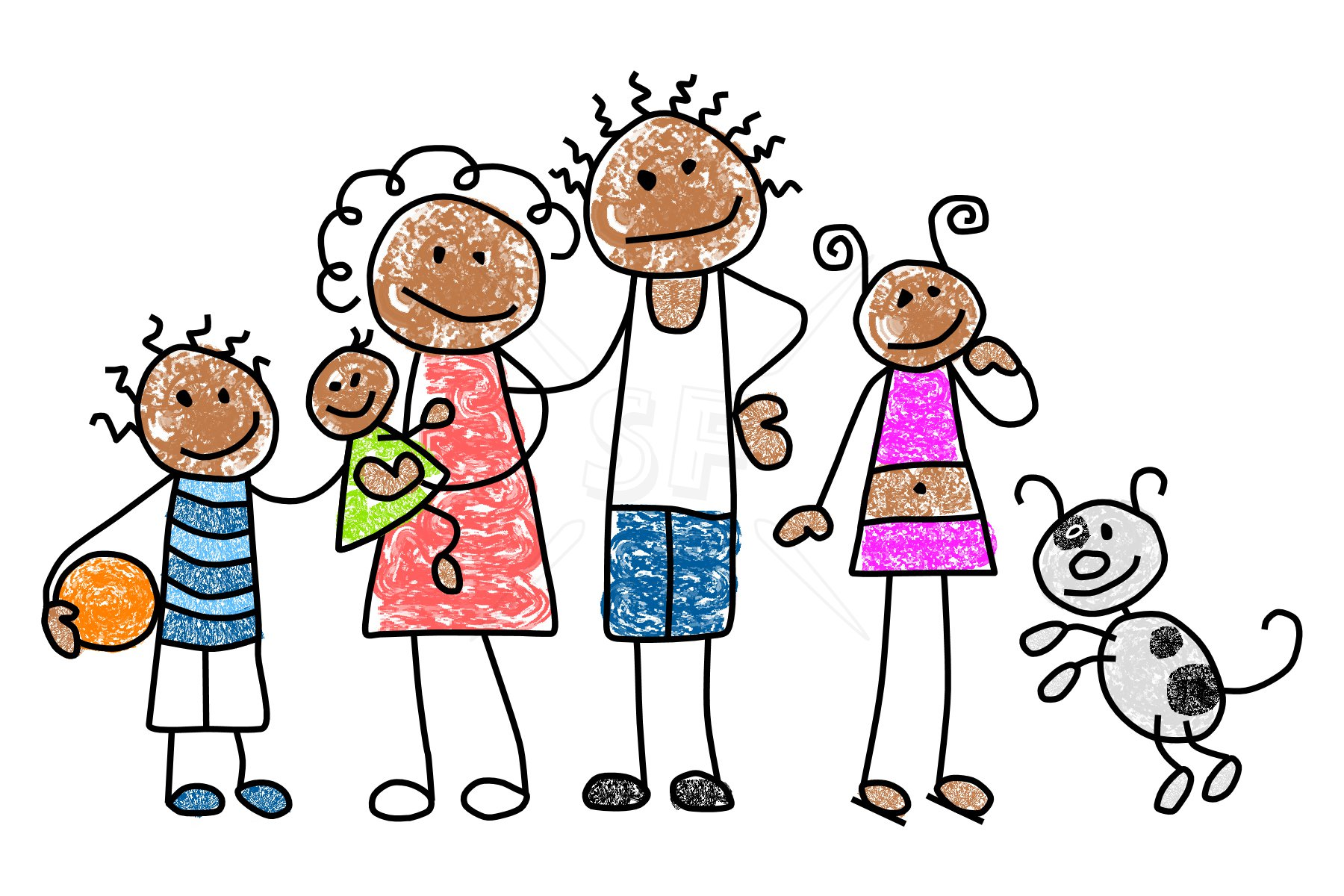 Family Clipart 5 People Stick People
