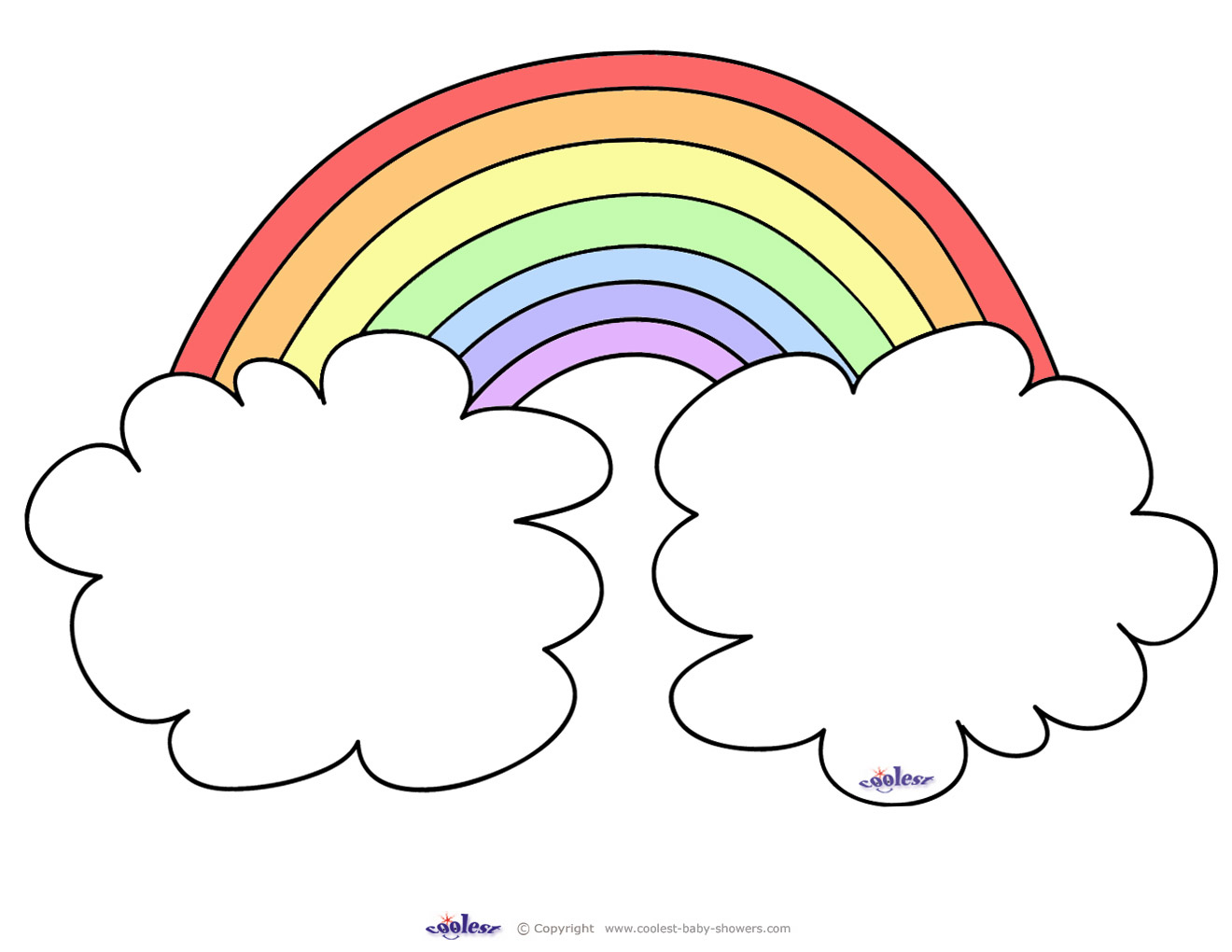 Rainbow Coloring Page With Color Words Clipart Panda