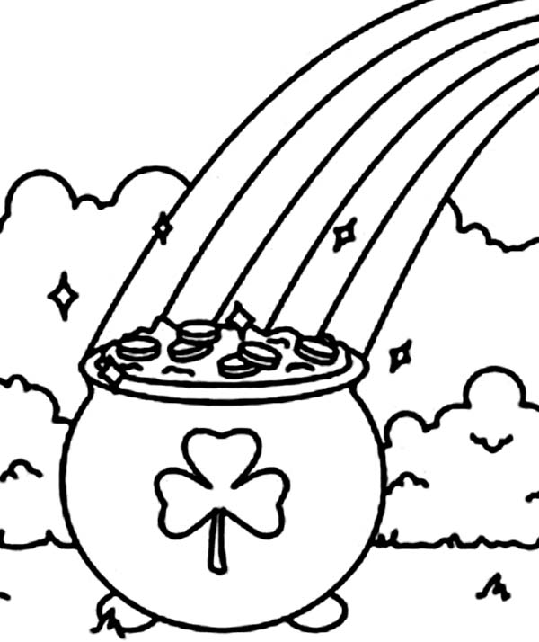 coloring page a pot of gold with a shamrock symbol coloring page jpg