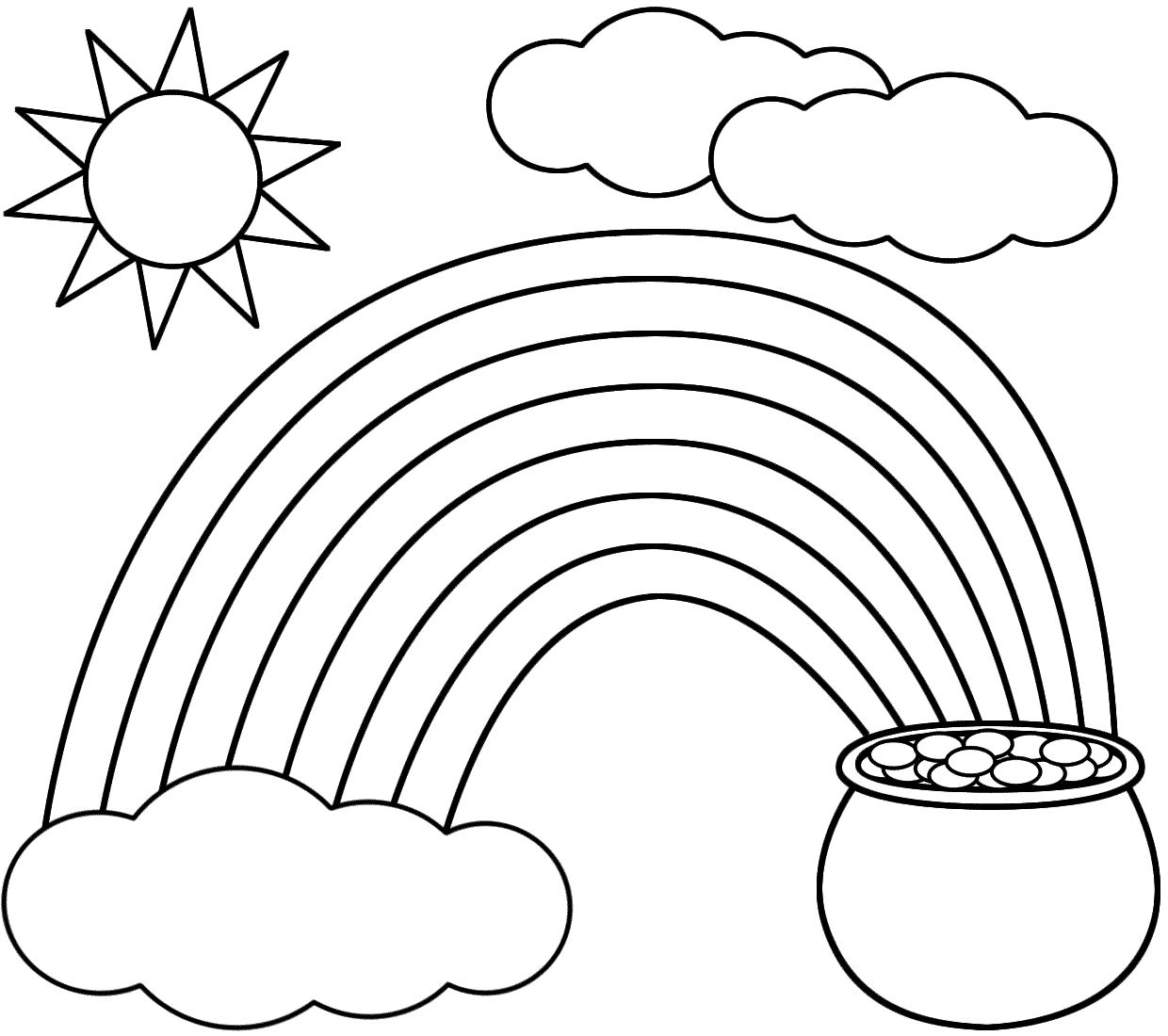 Rainbow Coloring Page With Color Words