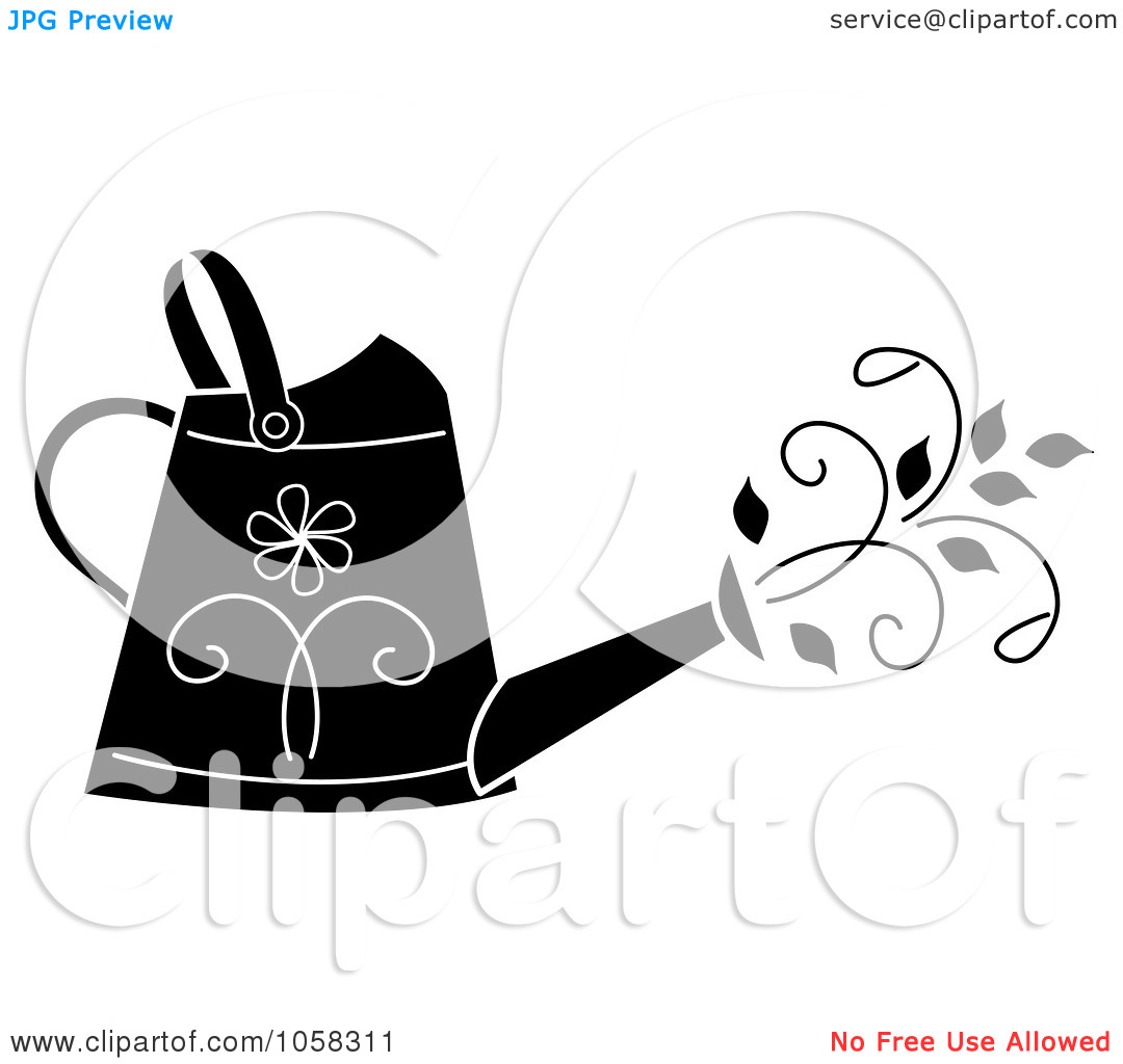 Watering Can Clipart Black And White