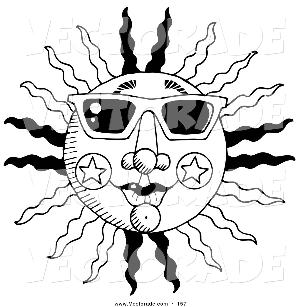 Sunglasses Black And White Vector Clipart Panda