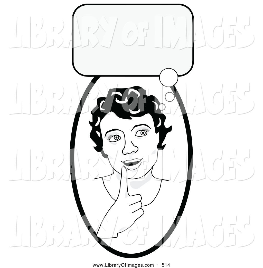 Thinking Cloud Clipart Black And White