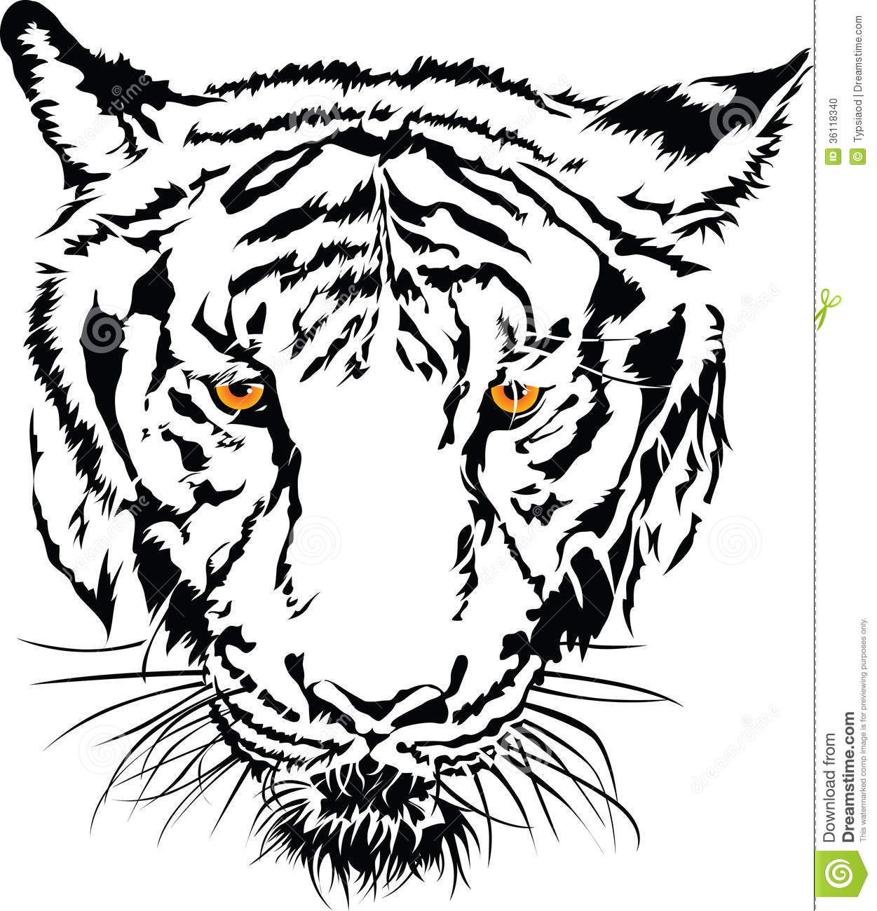 Tiger Face Clip Art Black And White Clipart Panda