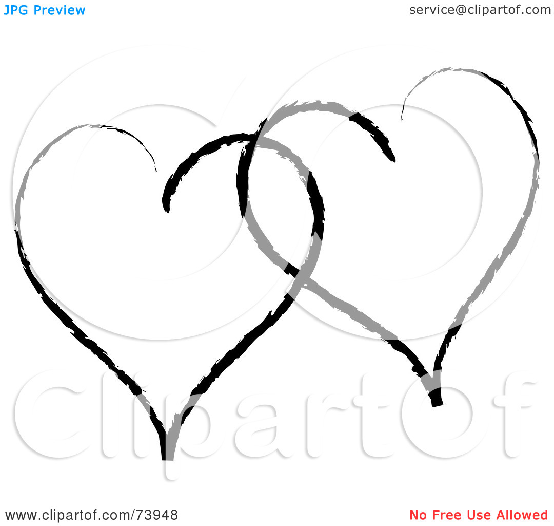 Two Hearts Clipart Black And White Clipart Panda