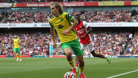 Todd Cantwell of Norwich in action during the Premier League match at the Emirates Stadium, London
