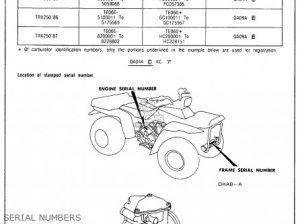 Honda Trx250 Fourtrax 250 1987 (h) Usa parts list
