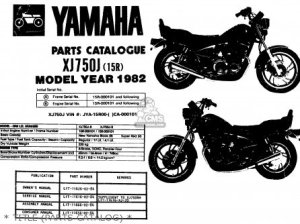 Yamaha Xj750j Maxim 1982 parts list partsmanual partsfiche
