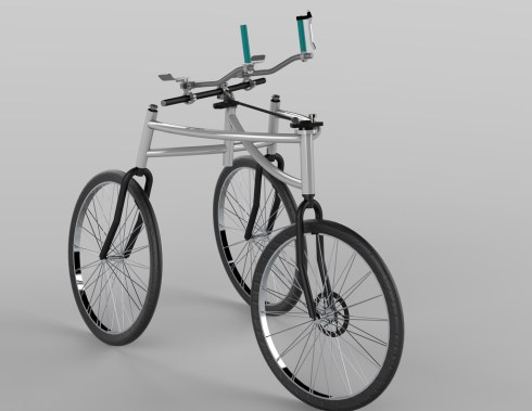 A 3 wheeled wheelchair design that looks more like a 3-wheeled bicycle with turquoise handles and a steel frame