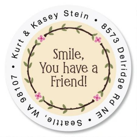 Smile Round Return Address Labels Colorful Images
