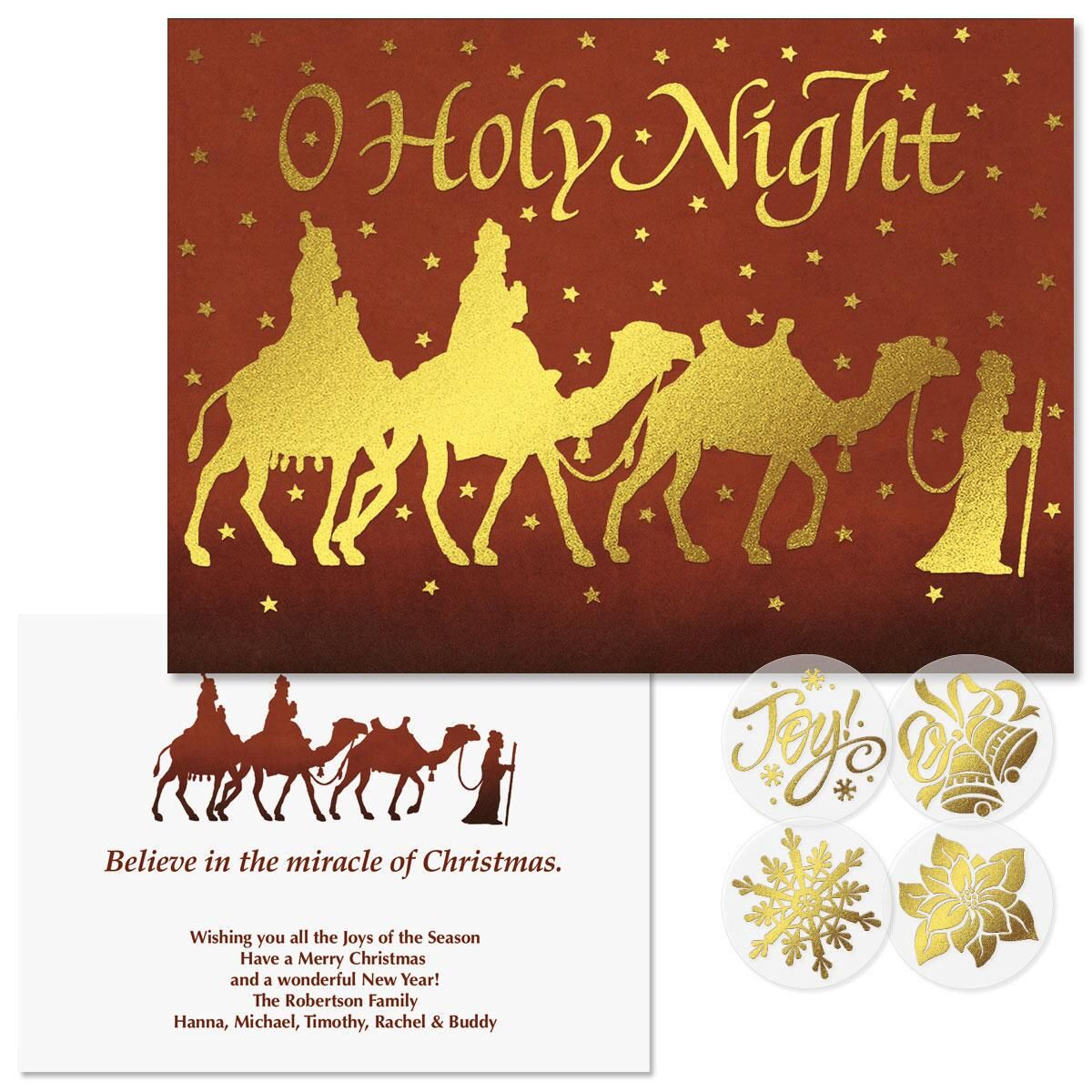 Three Kings Foil Christmas Cards Colorful Images