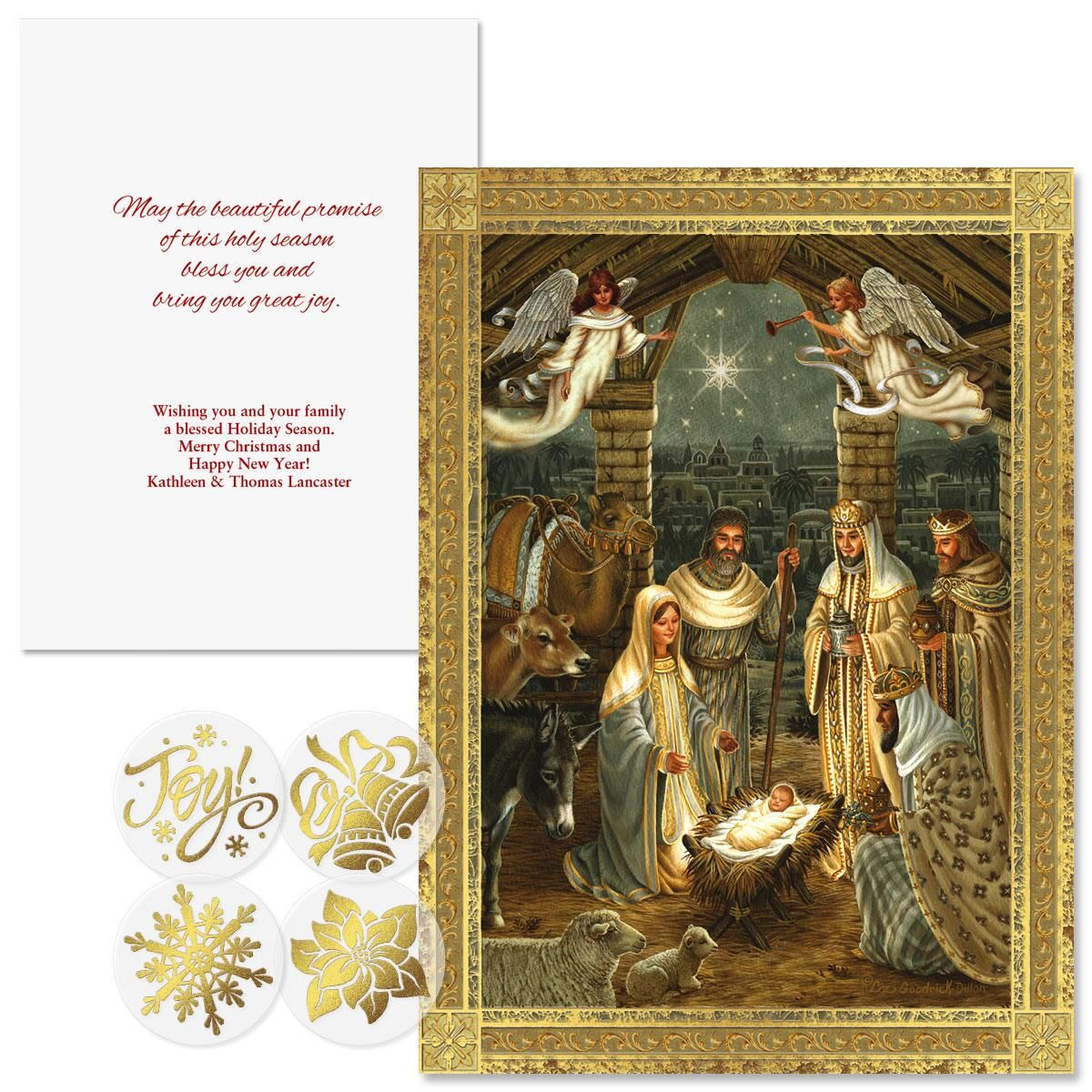 Golden Nativity Foil Christmas Cards Colorful Images
