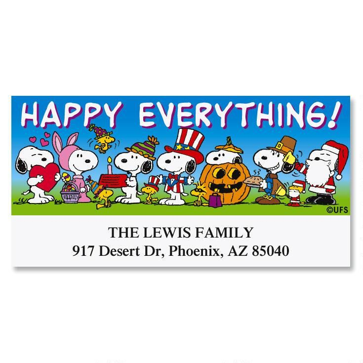 PEANUTS Happy Everything Deluxe Address Labels Colorful