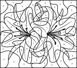 lily printable color by number page hard