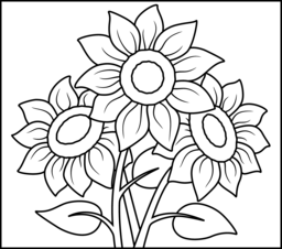 sunflower coloring page printables apps for kids