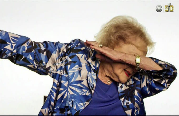 betty white already won super bowl sunday with her dab complex