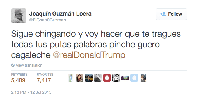 Image result for El chapo tweet trump
