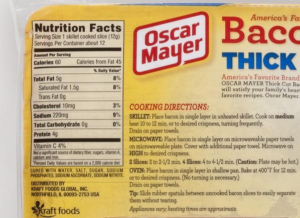 Nutrient Values Bacon
