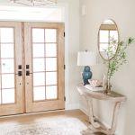 Wood French Patio Doors Light Farmhouse Style Entryway Pella