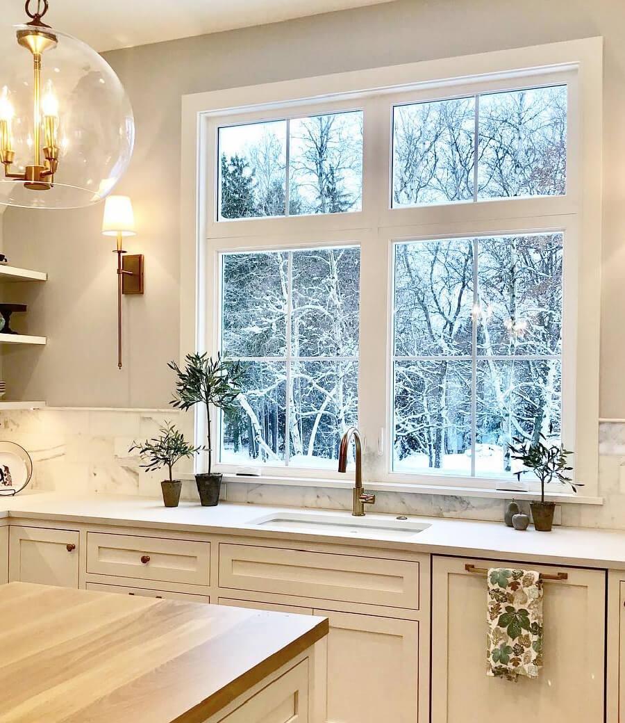 white casement windows brighten