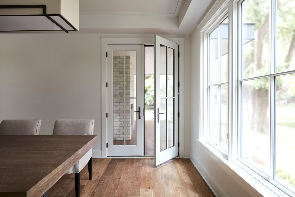 wood french doors with custom grille