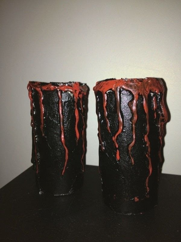 Blood Dripping Candle Holder Kitchen Roll And Hot Glue